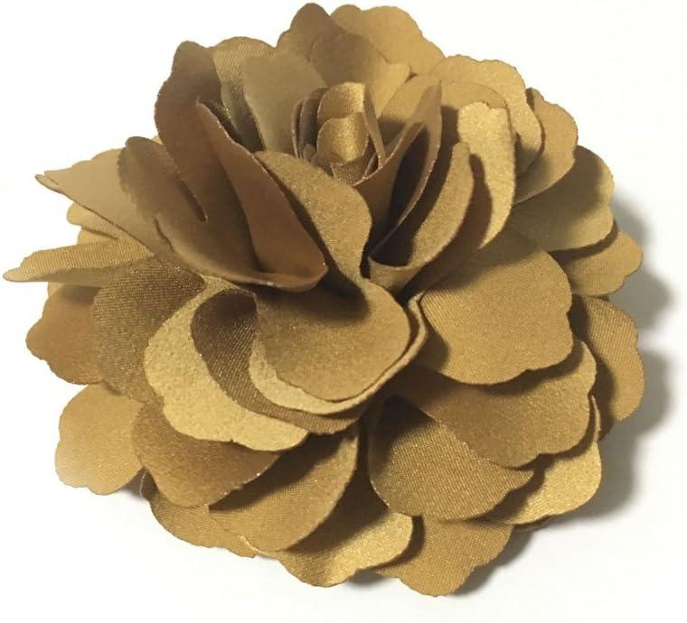 Meilliwish Camelias Flor Pinza para el cabello Y Pin de broche (A74)(Mostaza amarilla)