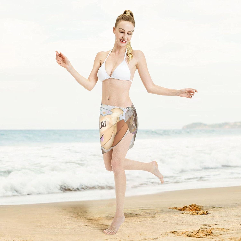 Moriah Elizabeth Pickle Women Beach Wraps Short Sarongs Beach Sheer Bikini Chiffon Cover Ups for Swimwear Black