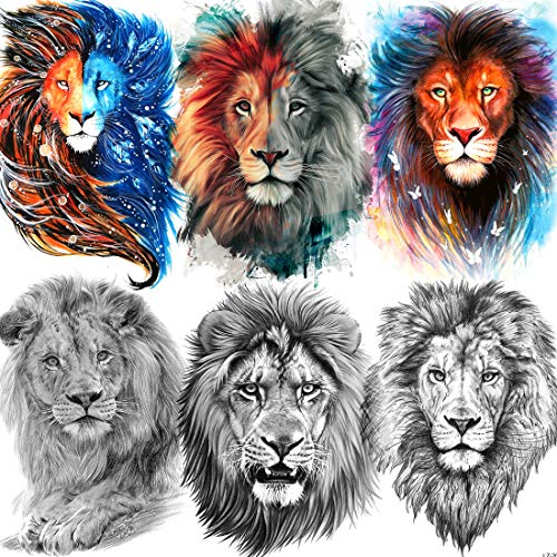Rejaski 6 Sheets 3D Large Lion Face Temporary Tattoos For Women, Waterproof Fake Tattoo Stickers For Men, Adults Black Lion King Tatoo Halloween Parties, Realisic Half Sleeve Arm Tatoos Animals Sketch