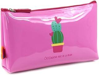 Cosmetiquera en color rosa fácil limpieza con print frontal - Cloe
