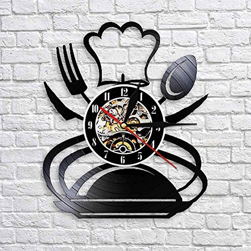 TJIAXU Retro Tenedor Cuchillo Cuchara Cocina Arte de la Pared Reloj de Pared diseño de vajilla Restaurante decoración de la Pared vajilla Reloj de Pared de Vinilo