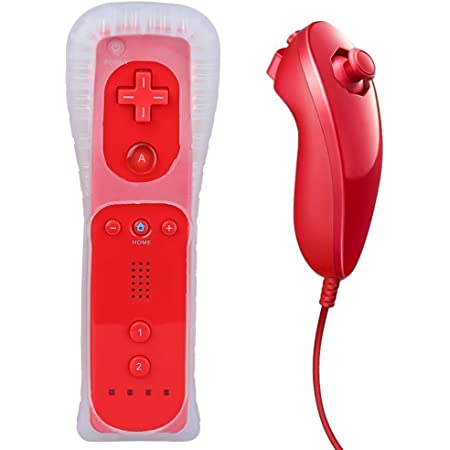 Remote Controller for Wii,Yudeg Wii Remote and Nunchuck Controllers with Silicon Case for Wii and Wii U(not Motion Plus) (Red)