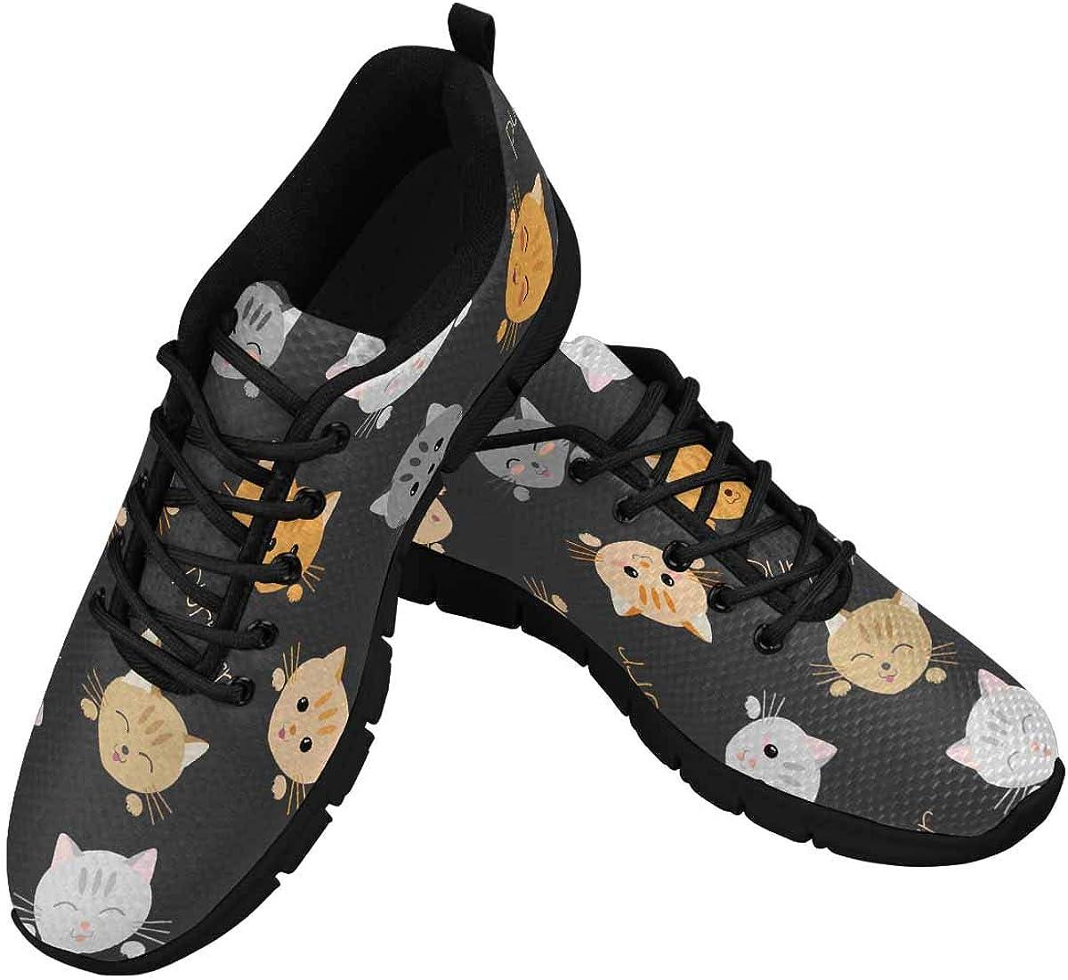 InterestPrint Cute Cats Kawaii Joyful Pets Women's Tennis Running Shoes Lightweight Sneakers