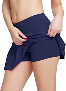 birbyrrly Women's Athletic Skorts Workout Training Skirts with Shorts and Pockets for Running Tennis Golf
