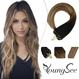 Youngsee 20inch Micro Ring Hair Extensions Human Hair Ombre Balayage Darkest Brown to Chestnut Medium Brown Mixed Light Gloden Blonde Micro Link Loop Hair Extensions 1g/50g