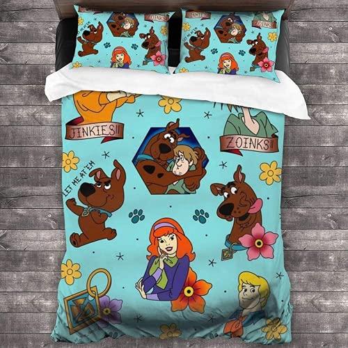 QWAS Scooby-DOO - Juego de funda de edredón y funda de almohada de anime, adecuado para dormitorios y habitaciones de invitados (Scooby-Doo7, 200 x 200 cm + 80 x 80 cm x 2)