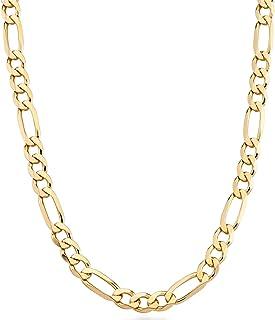 Miabella 18K Gold Over Sterling Silver Italian 7mm Solid Diamond-Cut Figaro Link Chain Necklace for Men, 18, 20, 22, 24, 2...