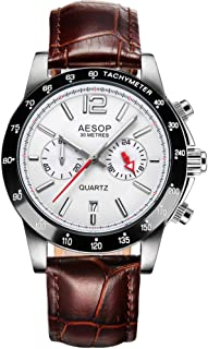 Aesop Fashion Luxury Men Date Analog Japanese Quartz Wrist Watch with Leather Band Waterproof Silver White Brown