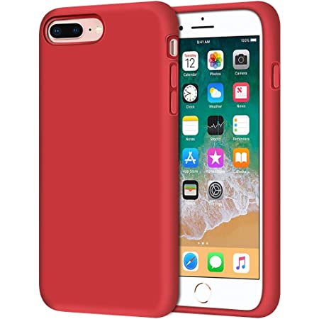 Anuck Case for iPhone 8 Plus Case, for iPhone 7 Plus Case 5.5 inch, Soft Silicone Gel Rubber Bumper Case Microfiber Lining Hard Shell Shockproof Full-Body Protective Case Cover - Red