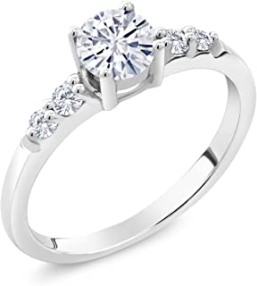 925 Sterling Silver Solitaire w/Accent Stones Lab Grown Diamond Ring Forever Classic Round 0.50ct (DEW) Created Moissanite by Charles & Colvard