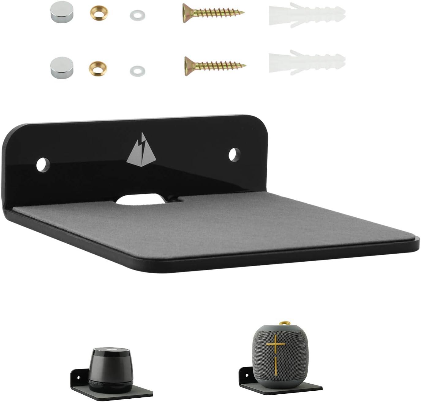 Small Wall Shelf Speaker Stand, TXEsign Small Shelf Speaker Mount for Bluetooth Speaker, Webcam, Cell Phones, Mesh Router,Toy Display Shelf Acrylic Speaker Shelf (Black)