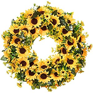 Lvydec Artificial Sunflower Summer Wreath – 18 Inch Large Fake Flower Wreath with Yellow Sunflower and Green Leaves for Front Door Indoor Wall Décor