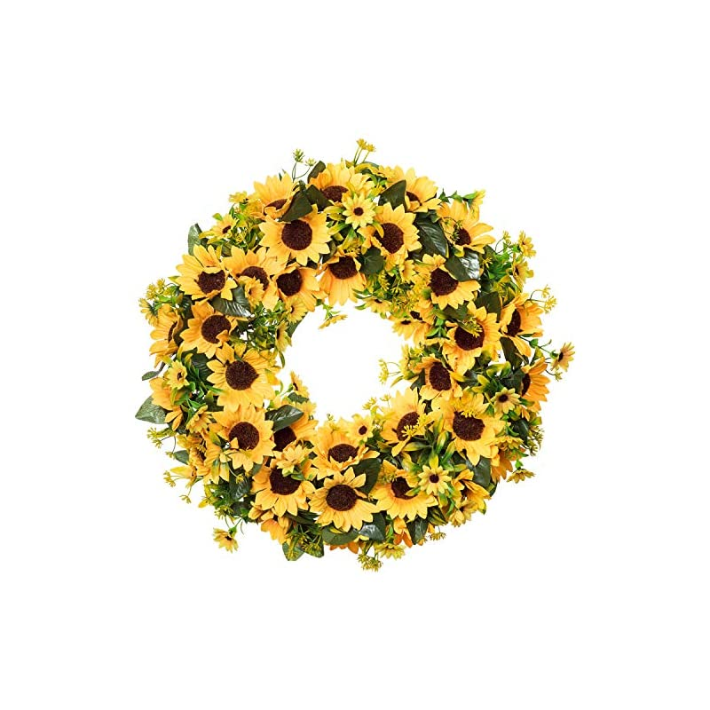 silk flower arrangements lvydec artificial sunflower summer wreath - 18 inch large fake flower wreath with yellow sunflower and green leaves for front door indoor wall décor