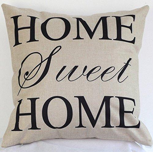 CAOLATOR - Federa in cotone per cuscino Home Sweet Home, federa per cuscino da divano, federa per cuscino (senza il nucleo)