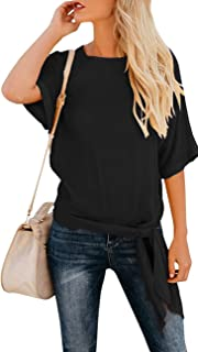 Women's Casual Knot Tie Front Half Sleeve Summer T Shirt Blouses Tops