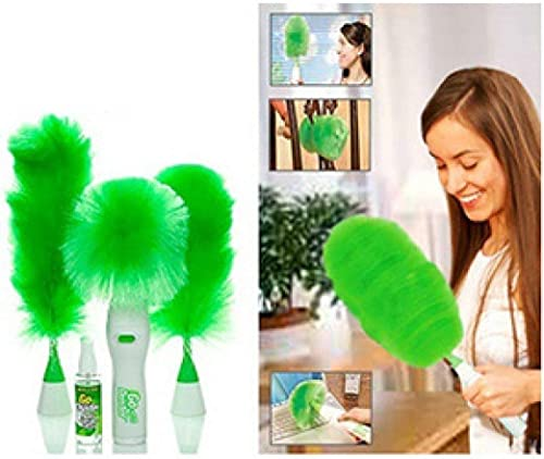 AMR ENTERPRISE Hand HELD Sward GO DUST Electric Feather Spin Home Duster Green Electronic MOTORISED Cleaning Brush