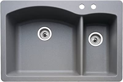 Blanco 440198 2 Diamond 2 Hole Double Basin Drop In Or Undermount Granite Kitchen Sink Metallic Grey Double Bowl Sinks Amazon Com