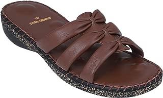 pelle albero Womens Brown Flat Slippers