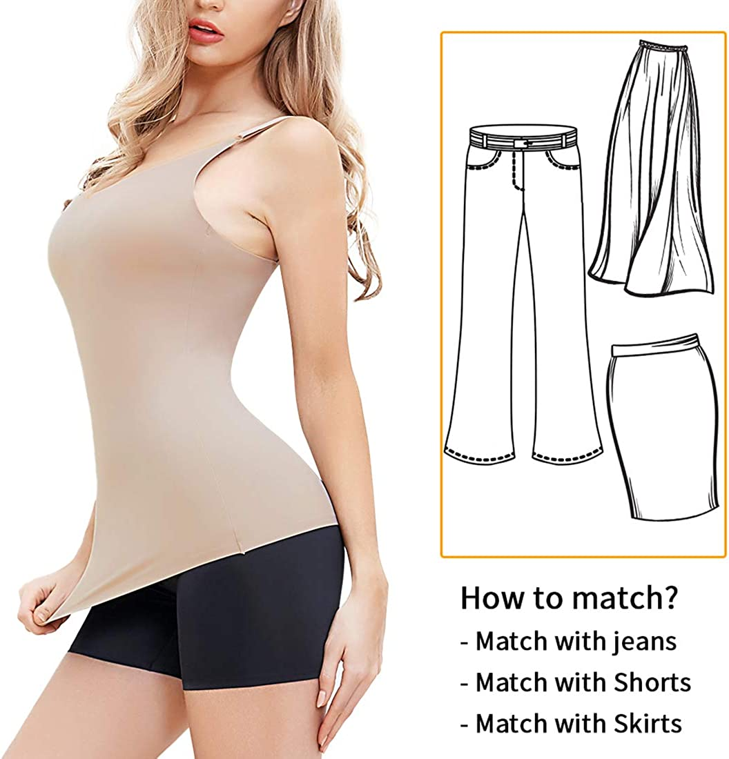 SHAPERIN Camisetas Moldeadoras para Mujer Sin Costura Camisola Fajas Compresi/ón Camiseta Sin Mangas con Correas