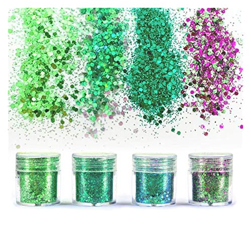 VIAIA 4 unids de joyería de Resina Azul Llena Lentejuelas de Bling para Mezclar para la Resina artesanía Festiva Festiva de Resina de Resina de Resina Que Hace la joyería (Color : E)