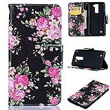 LG K8 Case, LG Escape 3 Case, LG Phoenix 2 Case, Firefish PU Leather Wallet Case [Card Slots] [Kickstand] Magnetic Closure Scratch Proof Case for LG K8/LG Escape 3/LG Phoenix 2 -Flower-A