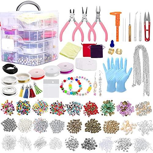 Souarts Schmuck Basteln Set Schmuckherstellungs-Set mit Schmuckzange Schmuckperlen für die Reparatur von Schmuck Halskette Ohrringen Armbändern Geschenk für Mädchen Frauen
