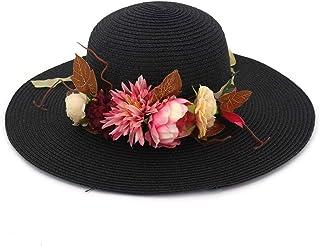 SHENTIANWEI Ladies Summer Straw Hat Sun Point Wave Mermaid Broad-brimmed Hat Cap Flower Clothes
