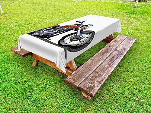 ABAKUHAUS Karikatur Outdoor-Tischdecke, Motorrad-Abenteuer, dekorative waschbare Picknick-Tischdecke, 145 x 265 cm, Orange Schwarz