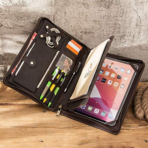 HaoHZ - Cartera de piel auténtica con cremallera para iPad Pro de 11' 2020/2018, funda para tablet padfolio, organizador de viaje, carpeta de currículum profesional para hombres y mujeres