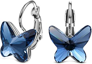 Yellow Chimes Crystals from Swarovski Montana Blue Butterfly Designer Earrings for Women and Girls (YCSWER-005125-BL)