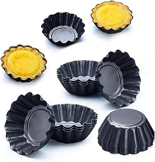 Egg Tart Mold, 12 Packs Egg Tart Mold Stainless Cupcake Stand Shells Household Baking, Heat-Resistant Aluminum Egg Tart Ba...