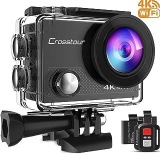 Crosstour 4K 20MP Cámara Deportiva Acuatica WiFi Videocámara de Acción con Control Remoto 2 Baterías 1050mAh y Accesorios Multifuncionales