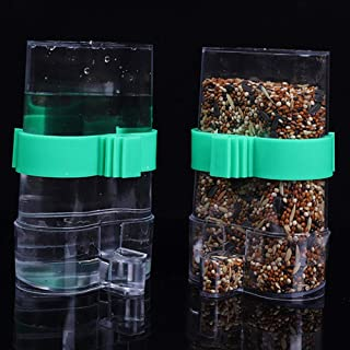 ANTOLE 2PCS Bird Seed Water Feeder Automatic Parrot Water Bottle Plastic Waterer Clip for Parrots Budgie Aviary Cockatiel