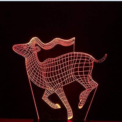 KangYD Luz 3D/Decoración del dormitorio 7 colores Animal Horse Led ...