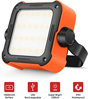 LED Work Light - Portable Rechargeable Waterproof Work Lamp with Stand, Outdoor Flood Lights 15 Light Modes Camping Lights Work Light for Emergency Car Repair Garage Construction Job Site Lighting