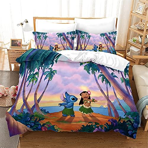 Lilo & Stitch 626 Angel Ohana - Juego de ropa de cama infantil con 2 fundas de almohada, microfibra, 3 piezas, multicolor (Stitch3, 135 x 200 cm)
