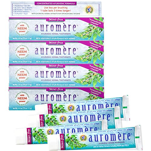 Auromere Ayurvedic Herbal Toothpaste, Mint Free - Vegan, Natural, Non GMO, Fluoride Free, Gluten Free, with Neem & Peelu (4.16 oz), 4 Pack