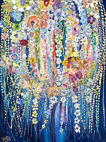 5D DIY Round Full Drill Diamond Painting by Number Kit for Adult, Crystal Rhinestone Diamond Embroidery Paintings Pictures Arts Craft for Home Wall Decor(Tree Weeping Willow) (12X16in)