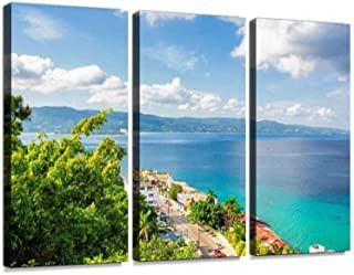 Jamaica Island, Montego Bay 3 Pieces Print On Canvas Wall Artwork Modern Photography Home Decor Unique Pattern Stretched and Framed 3 Piece