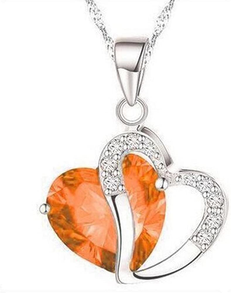 YOMXL Fashion Women Heart Crystal Pendan Silver Ranking integrated 1st place Chain Rhinestone Import