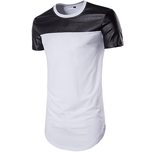 1a75bf56f39 WHATLEES Mens Casual Hipster Slim Fit Short Sleeve Longline T Shirt Crew  Neck Curved Hem Tops