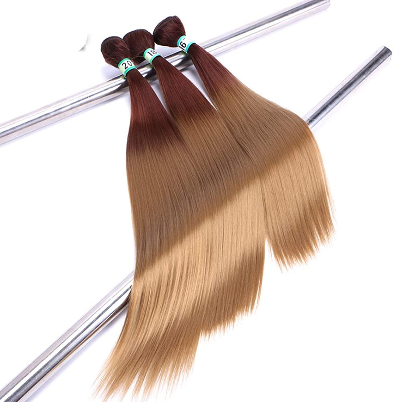 幹ゴルフ音声BOBIDYEE 黒のグラデーション茶色の髪織りバンドルヘアエクステンション横糸 - ストレートヘア(3バンドル、70g /バンドル)合成髪レースかつらロールプレイングウィッグロング&ショート女性自然 (色 : ブラウン, サイズ : 16