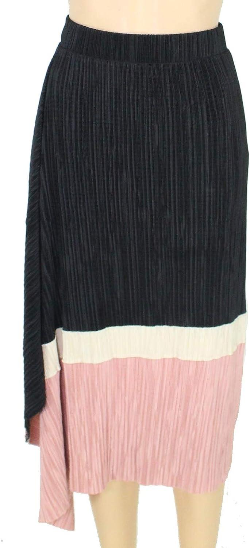 Alfani Womens Pleated Colorblock A-Line Skirt Black M