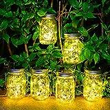 6 Stück Solarlampen für Außen - 30 LED Solar Mason Jar Licht Wetterfest Solar Laterne Hängend Solarleuchte Gartendeko Laternen für Draußen Patio Balkon Garten Baum Wand Tisch (Warmweiß)