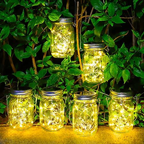 Lámparas Solares para Jardín - Paquete de 6 Lámparas Solar Mason Jar 30 LED Impermeable Luces para Exteriores Luz Decorativas de Hadas para Árbol Terraza Navidad Fiesta (Blanco Cálido)