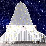 Mosquitera Camas, Grande Mosquitera Techo, Fácil Cama Colgante Canopy Netting, con Brillantes Estrellas Fluorescentes, con Diseño de Cúpula, para Camas Individuales y Doble (blanco)