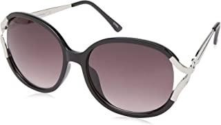 Southpole Women's 1001sp Ox Non-polarized Iridium Round Sunglasses, Black, 65 mm