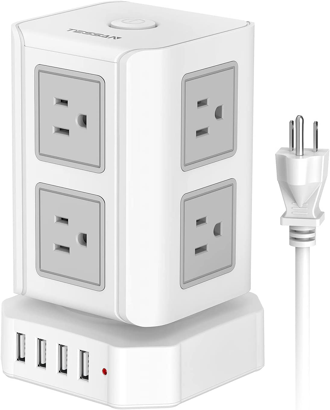 Power Finally popular brand Strip Tower TESSAN Surge Protector Super sale period limited Outlets 8 Ports 4 USB