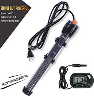 Orlushy Submersible Aquarium Heater,100W/150W/200W/300W Fish Tahk Heater with Adjust Knob Thermostat 2 Suction Cups and Free Thermometer Suitable for Marine Saltwater and Freshwater