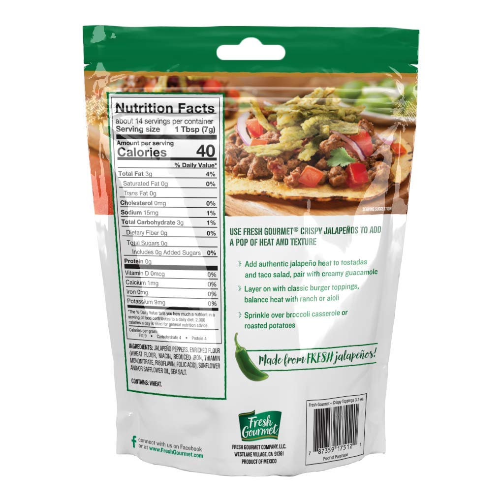 Fresh Gourmet Crispy Lightly Salted Jalapenos | 3.5 Ounce, Pack of 6 | Low Carb | Crunchy Snack and Salad Topper